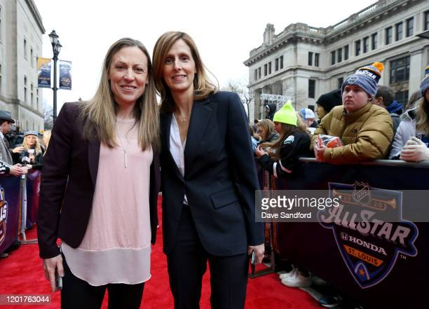 Head coaches Jayna Hefford of the Canadian AllStars and Cammi Granato of the American AllStars arrive for the 2020 NHL AllStar Skills Competition at...