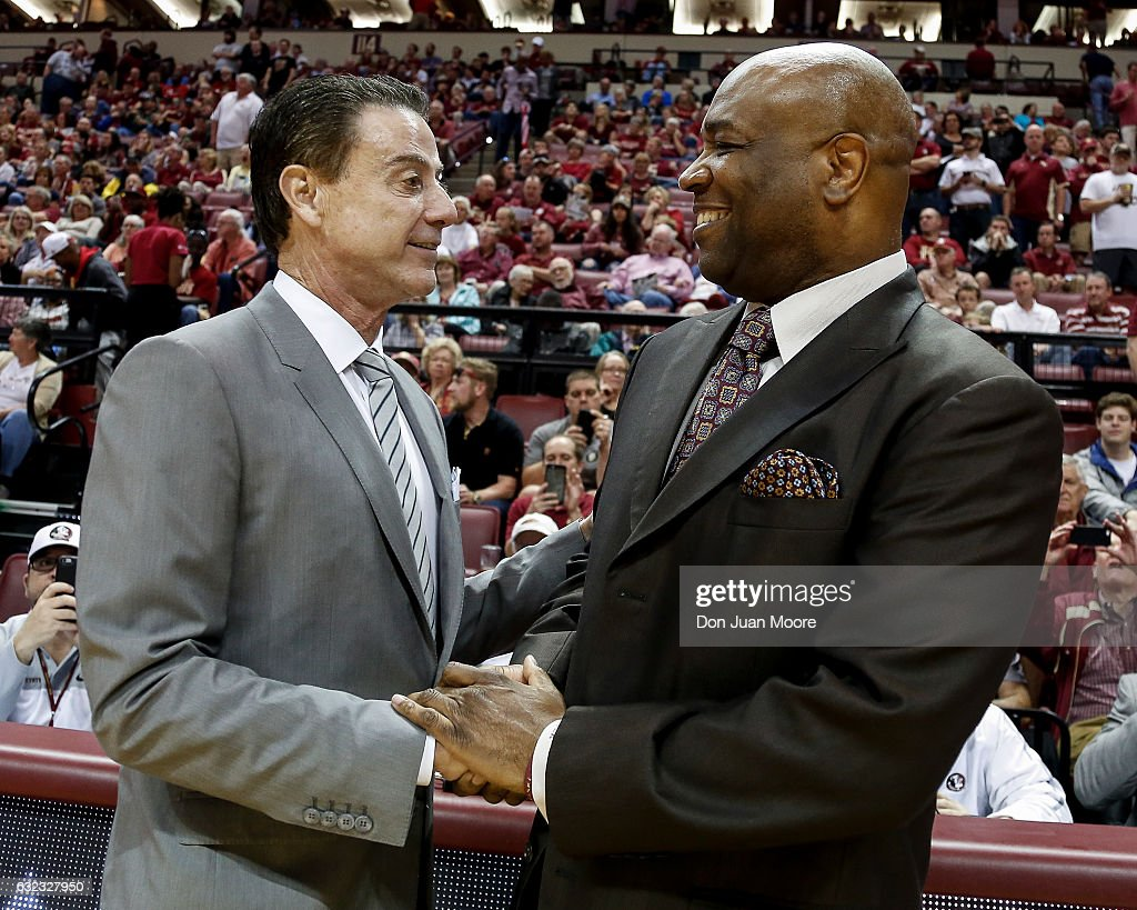 Head Coaches Rick Pitino of the Louisville Cardinals and Leonard Hamilton of the Florida State Seminoles talk before the game at the Donald L. Tucker Center on January 21, 2017 in Tallahassee, Florida. The 10th ranked Seminoles defeated the 12th ranked Cardinals 73 to 68.