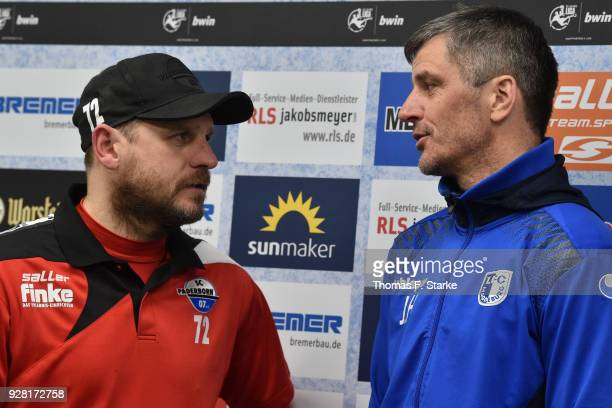 Head coaches Steffen Baumgart of Paderborn and Jens Haertel of Magdeburg chat after the press conference of the 3 Liga match between SC Paderborn 07...