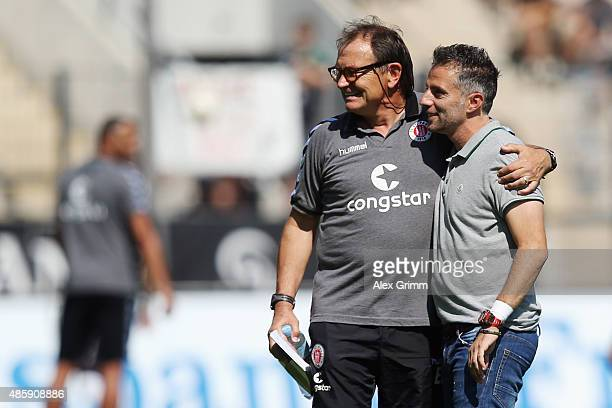 Head coaches Tomas Oral of Frankfurt and Ewald Lienen of St. Pauli chat prior to the Second Bundesliga match between FSV Frankfurt and FC St. Pauli...