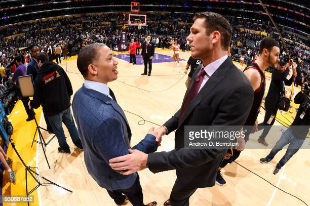 Head Coaches Tyronn Lue of the Cleveland Cavaliers and Luke Walton of the Los Angeles Lakers talk after the game on March 11 2018 at STAPLES Center...