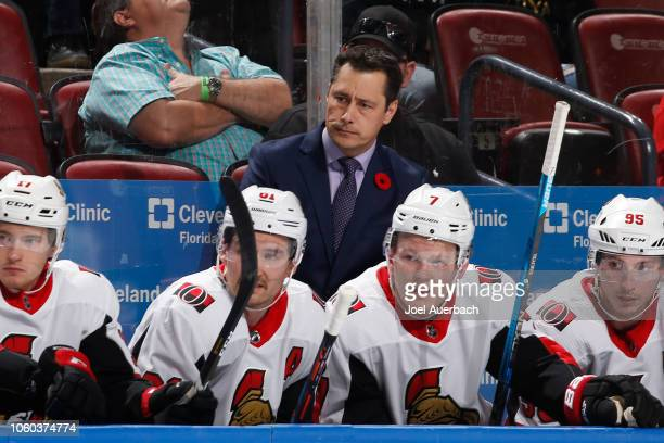 Head coach Guy Boucher of the Ottawa Senators looks on during a Florida Panthers power play at the BBT Center on November 11 2018 in Sunrise Florida