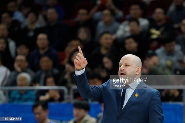 Head Cocah Yannis Christopoulos of Beijing Ducks reacts during 2019/2020 CBA League - Beijing Ducks v Tianjin Pioneers at Beijing Wukesong Sport...