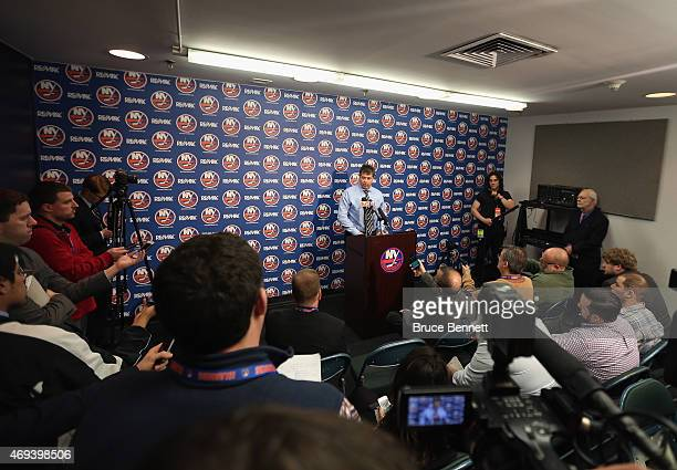 Head coch Jack Capuano of the New York Islanders speaks with the media following a shoot out loss to the Columbus Blue Jackets at the Nassau Veterans...