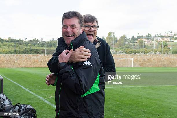 Head couch Dieter Hecking of Borussia Moenchengladbach und Hans Meyer of Borussia Moenchengladbach during a Training Session at Borussia...