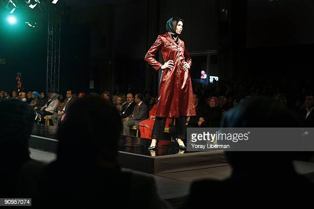 Head cover Models walk during the catwalk fashion show of Setrms at Sheraton Hotel on March 03 2008 in Ankara Turkey Setrms a design and manufactory...