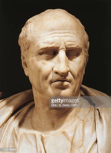 Head detail of bust of Marcus Tullius Cicero , Roman statesman, scholar and writer, marble.