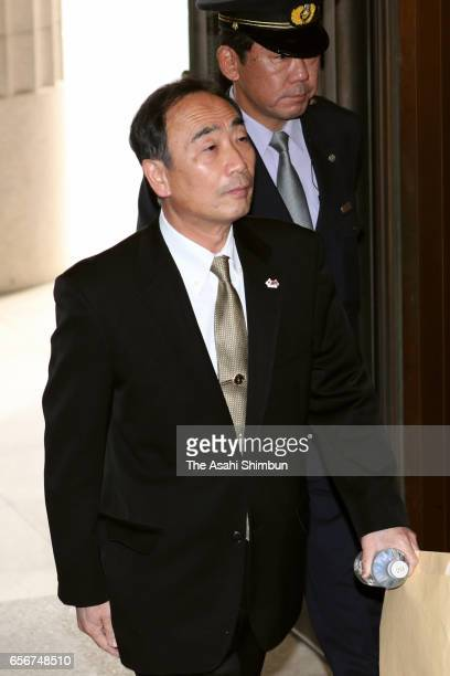 Head director of school operator 'Moritomo Gakuen' Yasunori Kagoike arrives prior to an upper house budget committee at the diet building on March 23...