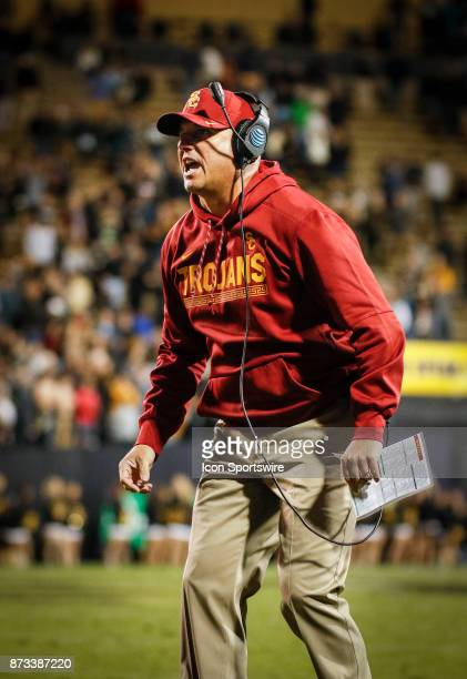USC head football coach Clay Helton coaches during the Colorado Buffalos game versus the USC Trojans on November 11 at Folsom Field in Boulder Co USC...