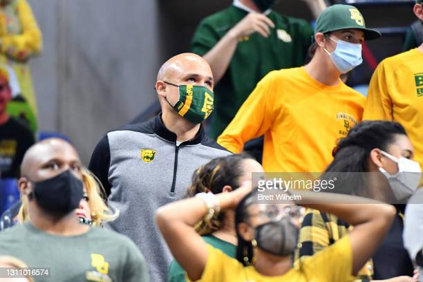 Head football coach Dave Aranda cheers from the stands during the game against the Gonzaga Bulldogs in the National Championship game of the 2021...