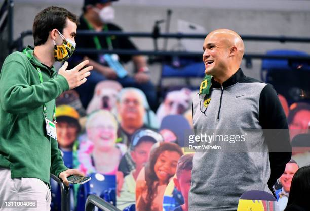 Head football coach Dave Aranda of Baylor Bears attends the game between the Gonzaga Bulldogs and the Baylor Bears in the National Championship game...