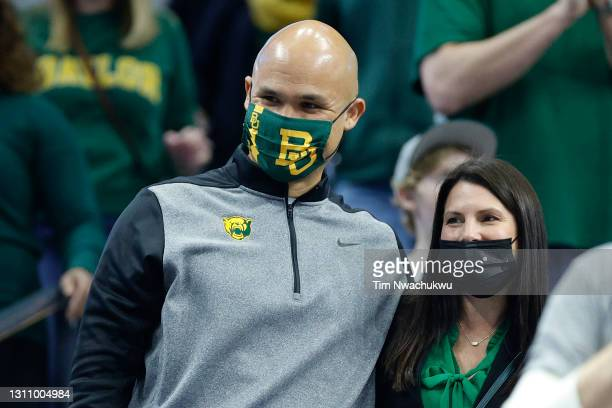 Head football coach Dave Aranda of the Baylor Bears attends the the National Championship game of the 2021 NCAA Men's Basketball Tournament between...