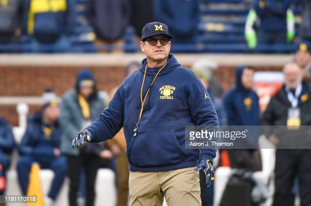 Head Football Coach Jim Harbaugh before a college football game against the Ohio State Buckeyes at Michigan Stadium on November 30, 2019 in Ann...