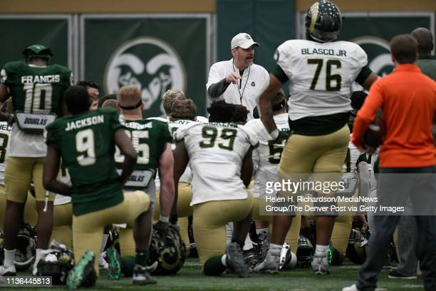 CSU head football coach Mike Bobo center talks to his players after the team's 2019 Rams football spring game at the team's indoor practice facility...