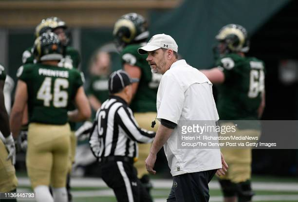 CSU head football coach Mike Bobo coaches from the field during the team's 2019 Rams football spring game at the team's indoor practice facility...