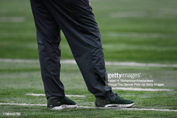 CSU head football coach Mike Bobo who suffered health issues last year still walks with a limp while on the field during the team's 2019 Rams...