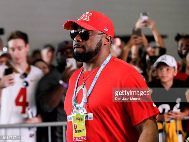 Head Football Coach Mike Tomlin of the Pittsburgh Steelers of the AFC Team as he arrives to the NFL Pro Bowl Game at Camping World Stadium on January...