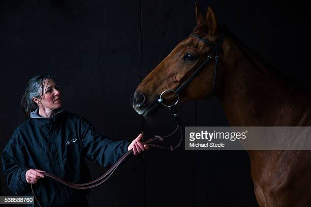 Head Girl Liz Welsh with Wishfull Thinking at Sandhill Racing Stables on April 4 2016 in Minehead England Sandhill Racing Stables set in 500 hundred...