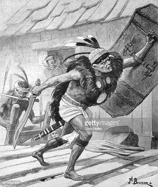 Head Hunting Dayak or Dayaks Borneo 1903