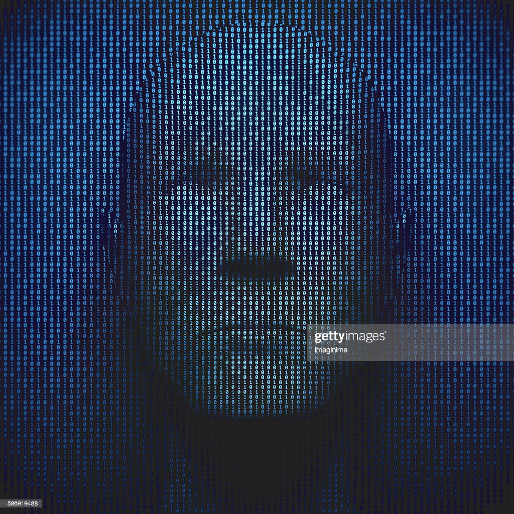 3D Head In Binary Code : Stock Photo