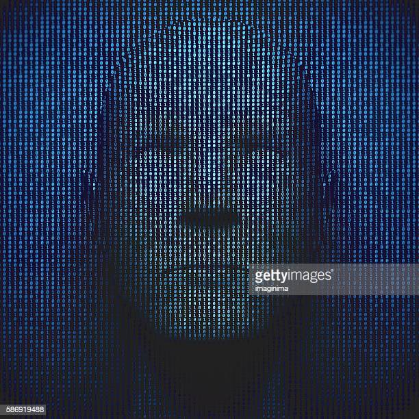 3d head in binary code - binary code stock pictures, royalty-free photos & images