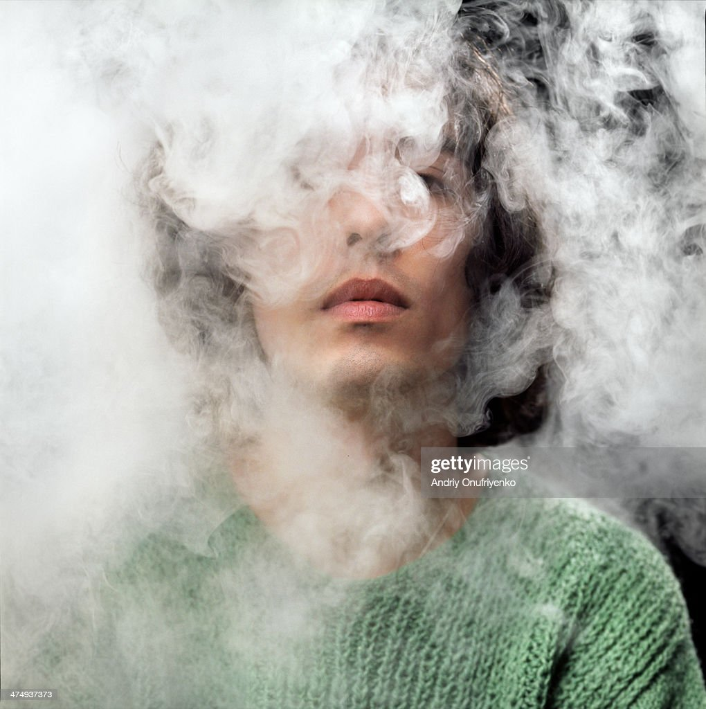 head in smoke : Stock Photo
