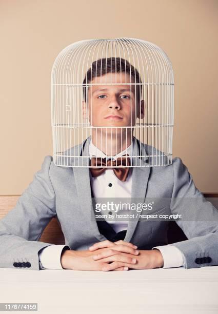 head in the birdcage - atrapado conceptos fotografías e imágenes de stock