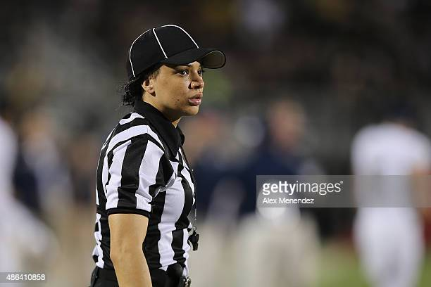 Head Linesman Maia Chaka is seen during a NCAA football game between the FIU Golden Panthers and the UCF Knights at Bright House Networks Stadium on...