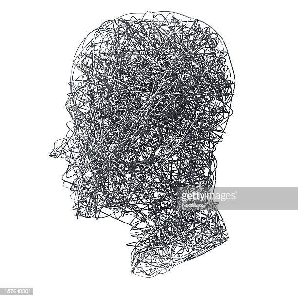 Head made out of wires on white background