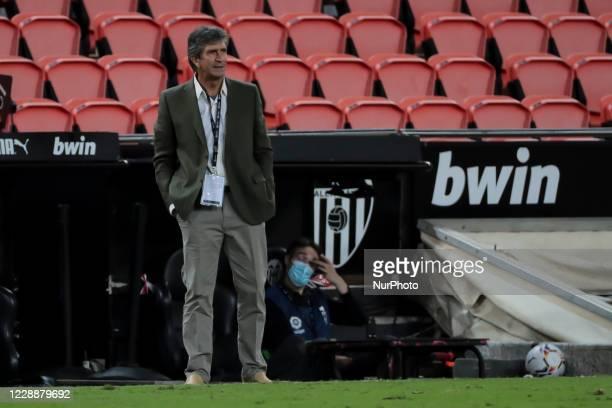 Head manager of Real Betis Manuel Pellegrini during spanish La Liga match between Valencai CF and Real Betis Balompie at Mestalla Stadium on October...