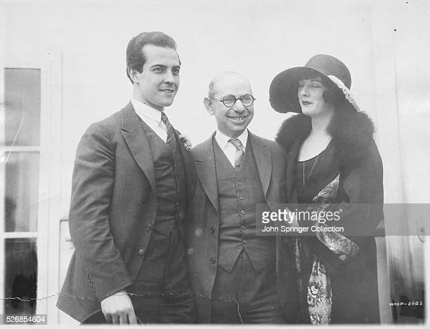 Head Marcus Loew with actor Ramon Novarro and actress Alice Terry on the SS Leviathan ocean liner.
