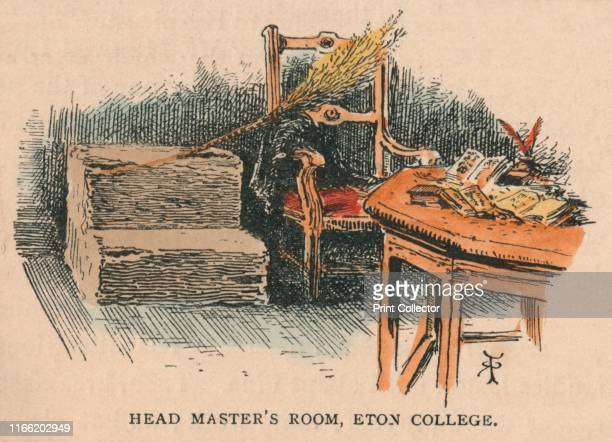 Head Master's Room Eton College' 19th century Interior at Eton College near Windsor in Berkshire The bundle of twigs resting on the chair is a birch...
