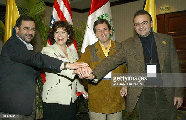 Head negociators for the Tratado de Libre Comercio Hernando Jose Gomez of Colombia Regina Vargo of the United States Pablo de la Flor of Peru and...