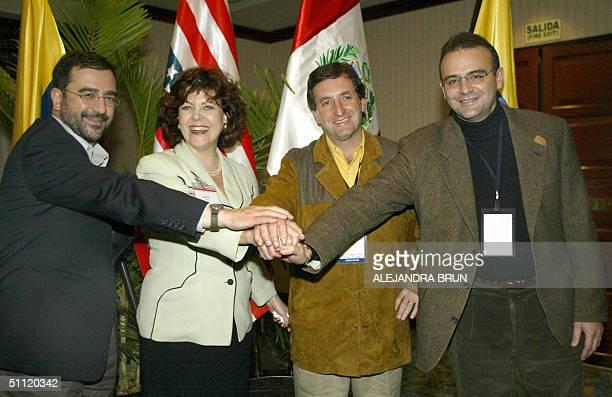 Head negociators for the Tratado de Libre Comercio : Hernando Jose Gomez of Colombia, Regina Vargo of the United States, Pablo de la Flor of Peru and...