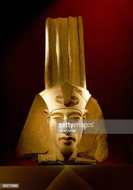Head of a Colossal Statue of Amenhotep IV is on display at the coinciding Egyptian Life at the Los Angeles County Museum of Art on June 15 2005 in...