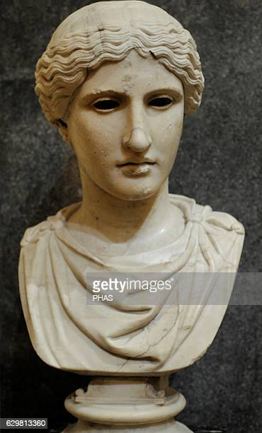 Head of a Goddes Marble Roman work Early 1st c AD After the Greek original of the 420 BC Eyes were made of gemstones or glass plaste The State...