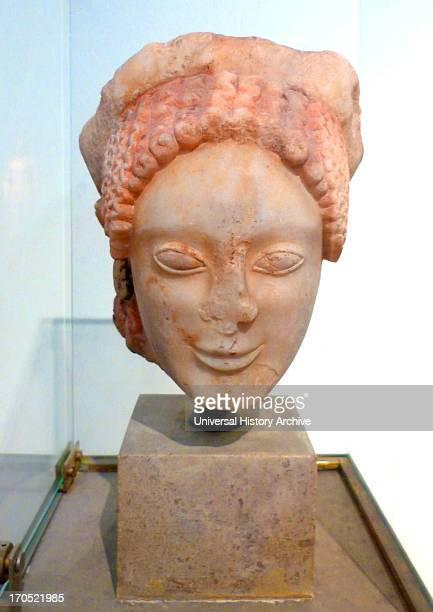 Head of a Kore Pentelic marble Found in Eleusis Attic work of the end of the 6th century BC