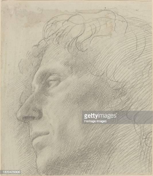 Head of a Man Facing Left. Artist Alphonse Legros.