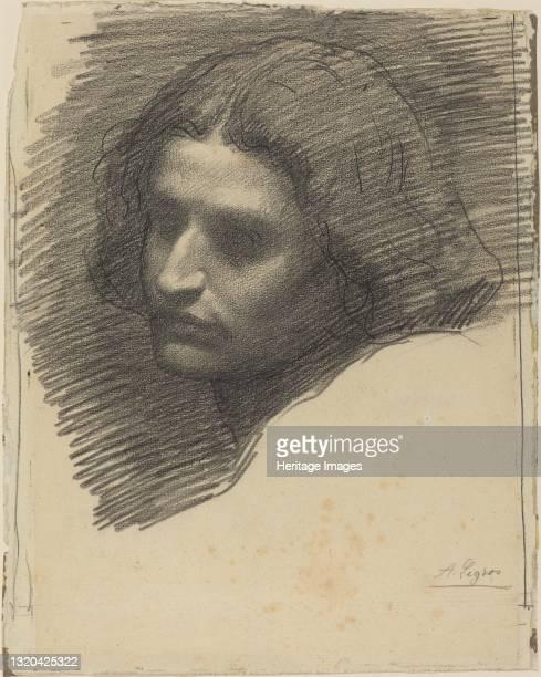 Head of a Man Facing Left [recto]. Artist Alphonse Legros.