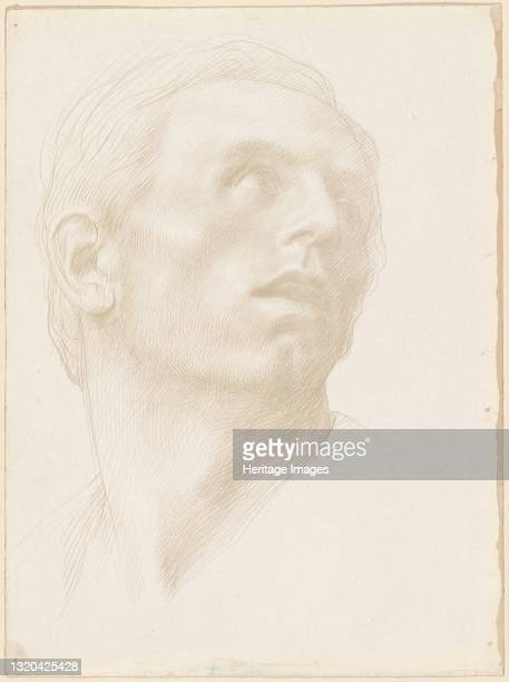 Head of a Man Looking Up to the Right, 1890s?. Artist Alphonse Legros.