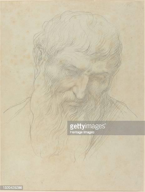 Head of a Man with Curly Hair and Beard. Artist Alphonse Legros.