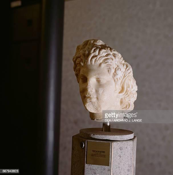 Head of a satyr marble sculpture Roman civilisation 2nd century AD Roma Museo Nazionale Romano Palazzo Massimo Alle Terme