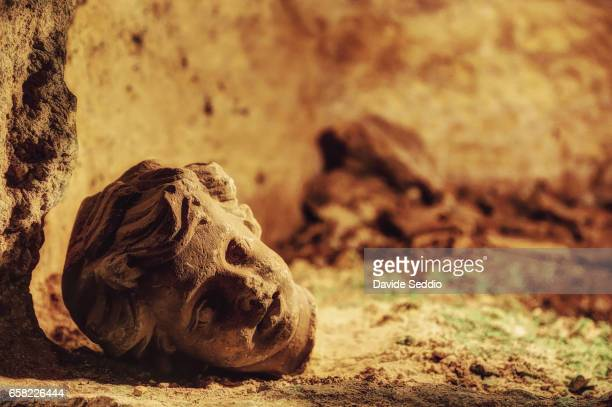 Head of a stuatue in St. Paul catacombs in Rabat, Malta
