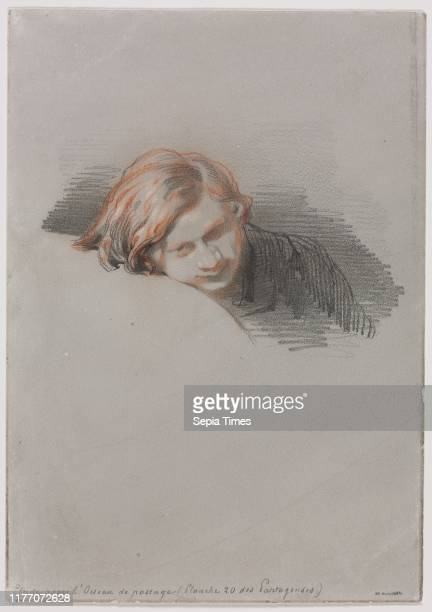 Head of a Young Man 1853 Paul Gavarni Graphite and red chalk with stylus heightened with white on offwhite woven paper sheet 236 x 166 cm