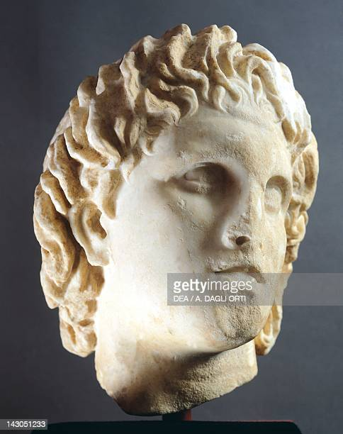 Head of Alexander marble sculpture from Pella Greece Greek civilization 4th Century BC Pella Museum