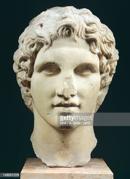 Head of Alexander the Great Hellenistic sculpture in Pentelic marble from The Erechtheion in Athens Greece Greek civilization 1st century BC Athens...