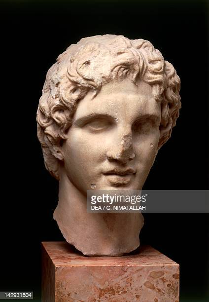 Head of Alexander the Great sculpture Greek civilization 2nd Century BC Athens Moussío