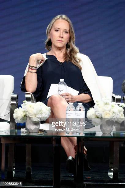 Head of Amazon Studios Jennifer Salke speaks onstage during the Amazon Studios portion of the Summer 2018 TCA Press Tour at The Beverly Hilton Hotel...
