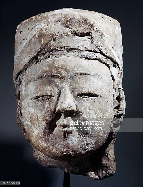 Head of an Iranian prince in stucco from Ravi Palace Iran Iranian civilisation early 13th century Paris Musée Du Louvre