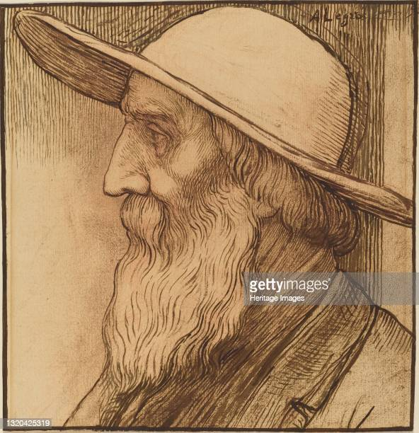 Head of an Old Man with a Wide-Brimmed Hat. Artist Alphonse Legros.